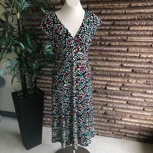 Jones New York V Neck Empire Waist Knit Dress